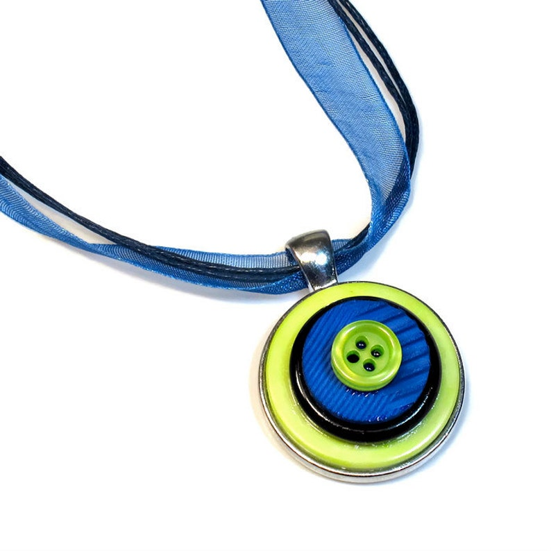 Blue and Green Necklace Pendant  Neon Jewelry Seattle Sports image 0