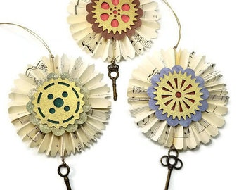 Steampunk Key Ornaments, Victorian Paper Fan Christmas Decorations