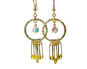 Gold Safety Pin Earrings, Upcycled Jewelry