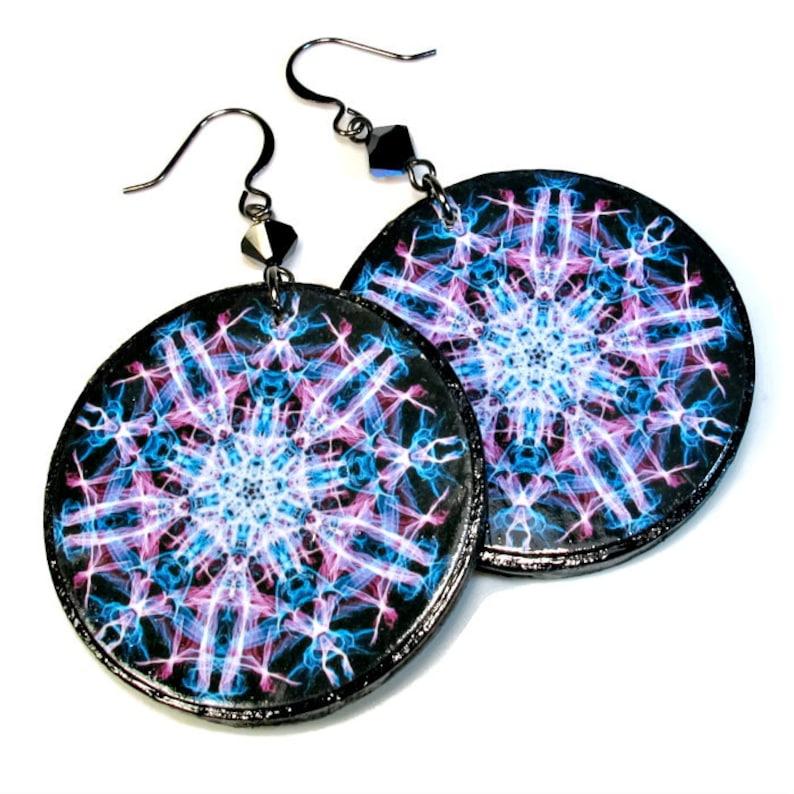 Purple Mandala Earrings Sand Dollar LARGE image 0