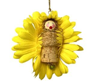Summer Flower Fairy Ornaments, Wine Cork Decorations