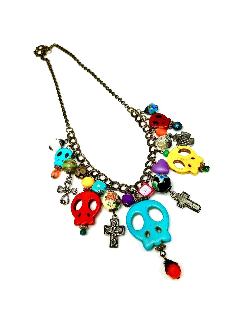 Sugar Skull Statement Necklace Mexican Day Of The Dead image 0