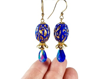 Cobalt Blue Earrings, Vintage Inspired Jewelry, Mother's Day Gift For Woman