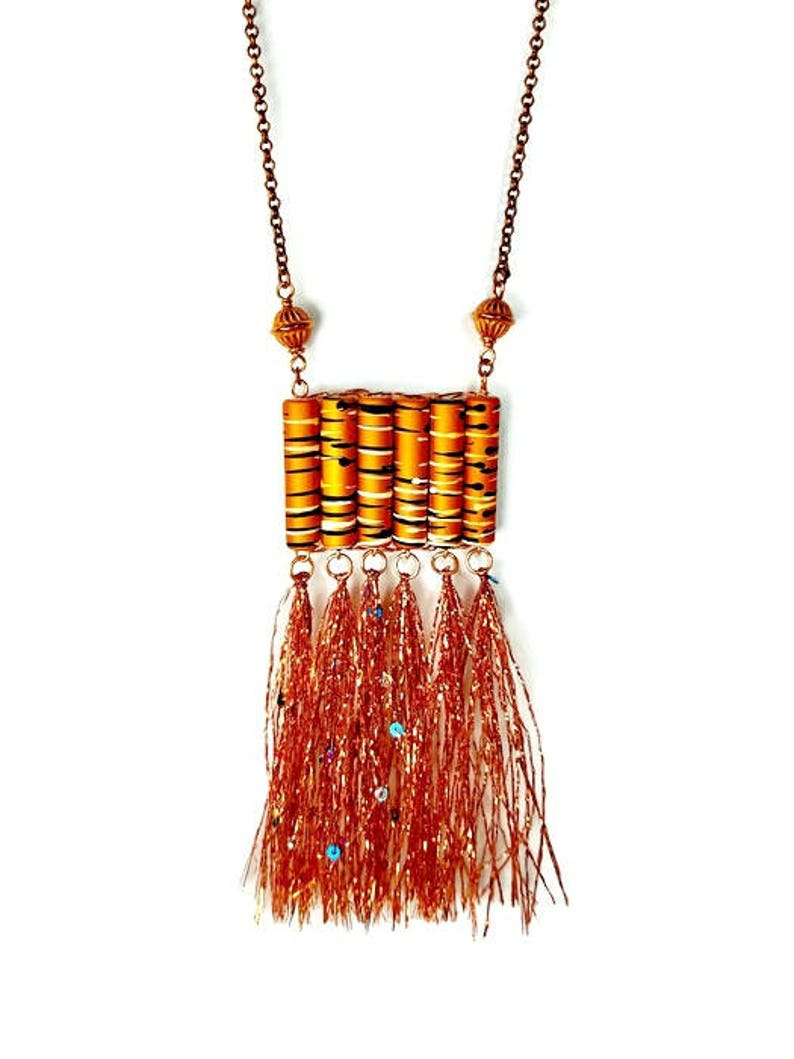 Artsy Long Tassel Necklace in Copper Gift for Woman image 0