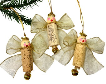 Champagne Wine Cork Ornaments, Angel Christmas Decorations, Wine Lover Gift Set Of  3