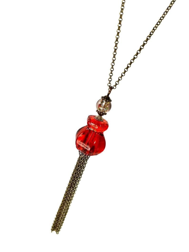 Long Red TASSEL Necklace Upcycled Jewelry Fall Fashion image 0