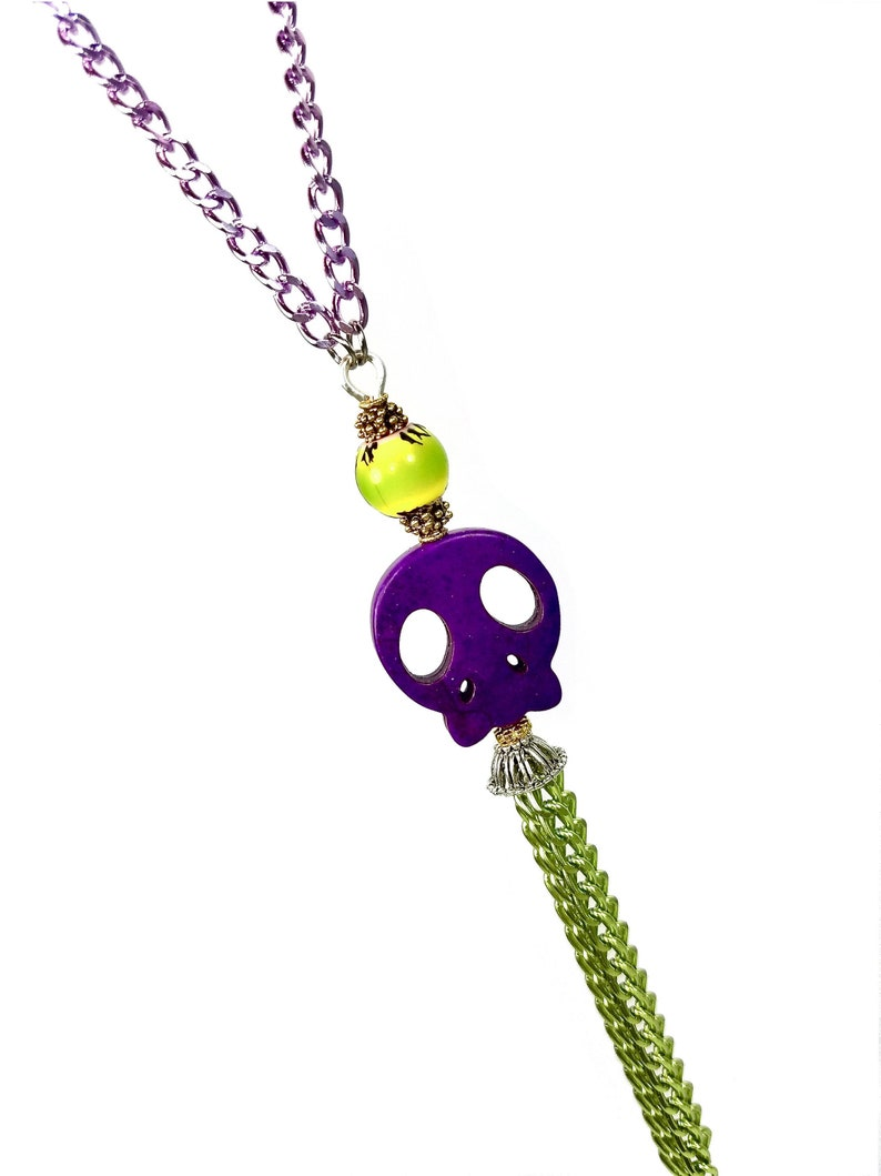 Long Green Purple Skull Necklace with Tassel Day Of The Dead image 0