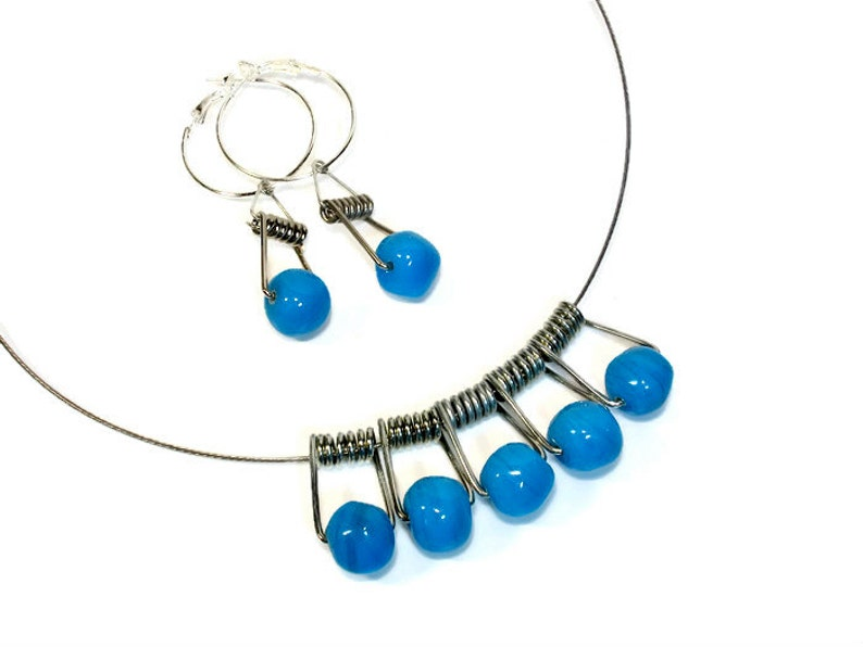 Unique Fun and Funky Necklace Earring Set Repurposed Jewelry image 0