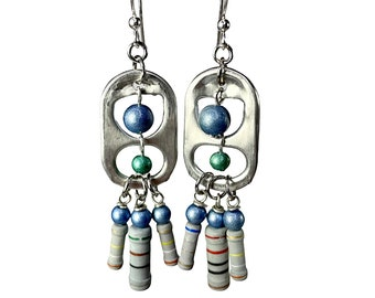 Recycled Earrings, Soda Tabs, Resistors,  Eco Friendly Recycled Jewelry