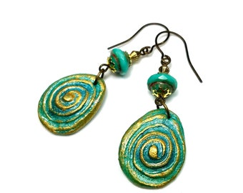 Turquoise Blue Spiral Earrings, Chakra Jewelry, Handcrafted Artisan