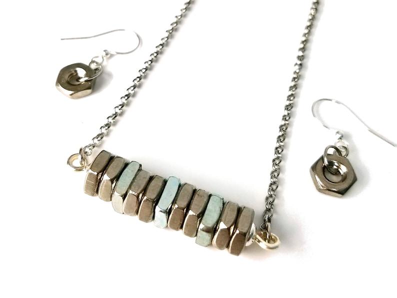 Upcycled Hex Nut Necklace Earring Set Bar Pendant Hardware image 0