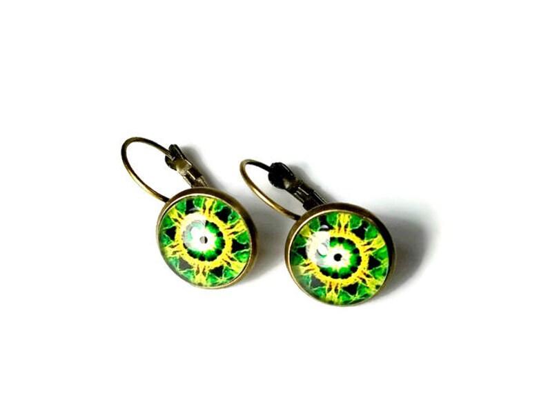 Yellow Green Mandala Earrings Fish Eye with Leverbacks image 0