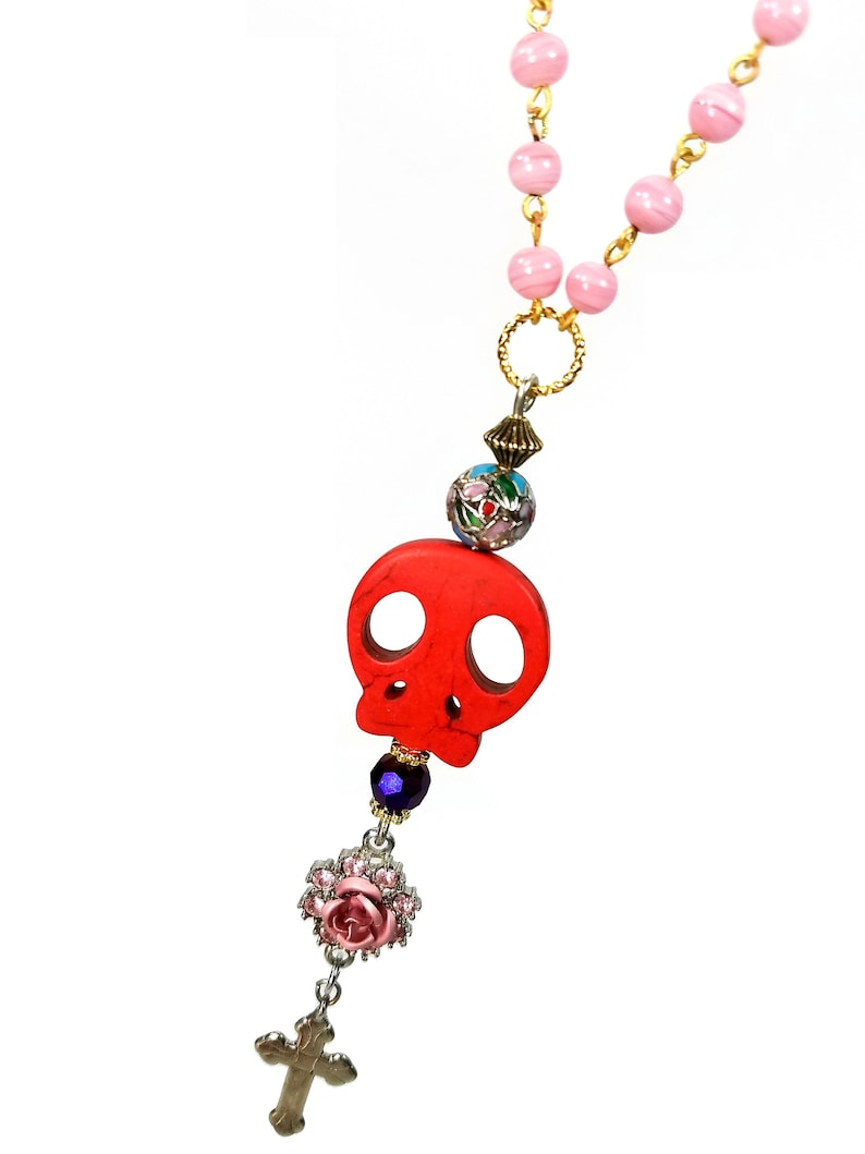 Mexican Inspired Skull Rosary Necklace Day of the Dead image 0