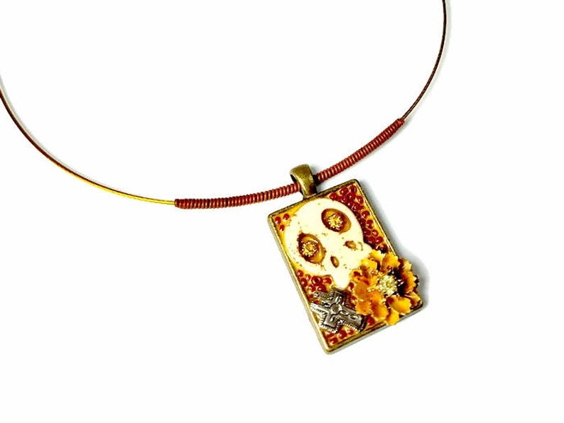 Sugar Skull Necklace Pendant with Flower and Cross Day of the image 0
