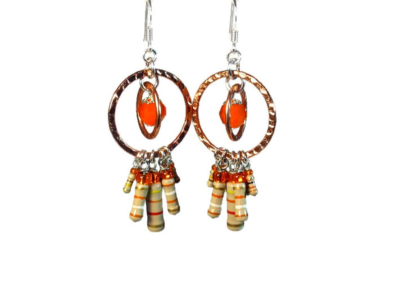 Modern Orange Dangle Earrings Fun and Funky Geek Jewelry image 0