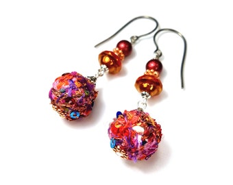 Fabric Bead Dangle Earrings, Upcycled Fiber Art Jewelry