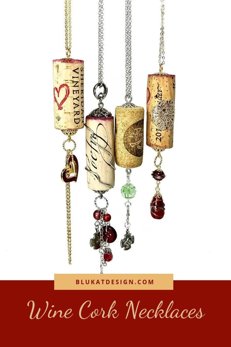 Repurposed Red Wine Cork Necklace Pendants Gift For Wine image 0