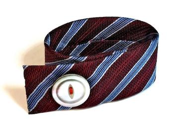 Repurposed Tie Cuff Bracelet, Fabric Jewelry