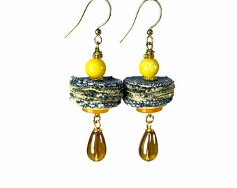 Artsy Denim Earrings, Yellow and Blue, Handmade Upcycled Jewelry