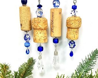 Wine Cork Christmas Ornaments, Blue Holiday Decor, Set of 4