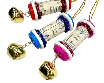 Bell Ornaments, Upcycled Spool Ornament Set, Christmas Sheet Music Decorations