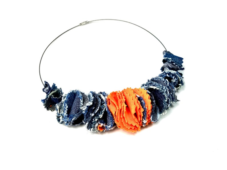 Artsy Fabric Statement Necklace in Blue Denim and Orange image 0