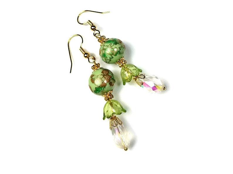 Victorian Floral Light Green Dangle Earrings image 0