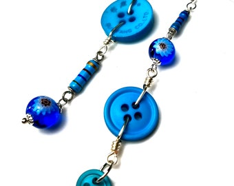 Turquoise Blue Mismatched Asymmetrical Earrings, Fun and Funky Jewelry