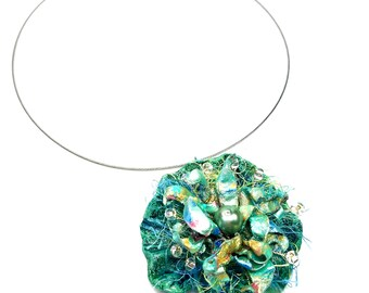 Sea Green Statement Pendant Necklace, Ocean Inspired Clay Jewelry