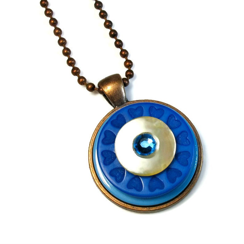 Blue Necklace Pendant with Hearts Button Jewelry image 0