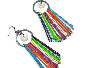 Colorful Tribal Statement Earrings, Upcycled Jewelry