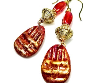 Red and Gold Earrings, Handmade Artisan, Egyptian Style Jewelry