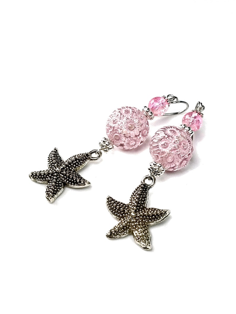 Pink Starfish Earrings Sea Urchin Ocean Inspired Gift for image 0