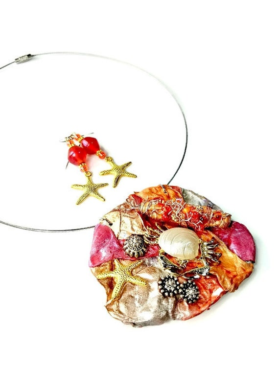 Ocean NecklaceEarring Set 3pcs Jewelry set Gift Set Beach Sea Resin jewelry Handmade Unique