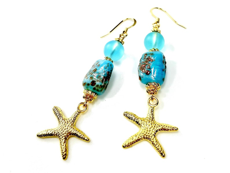 Turquoise Dangle Earrings with Gold Starfish image 0