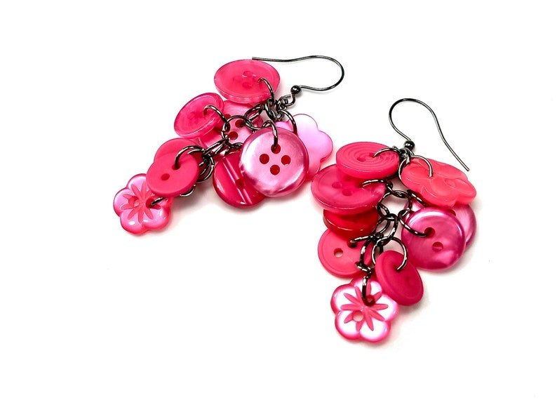 Upcycled Earrings in Hot Pink with Buttons image 0