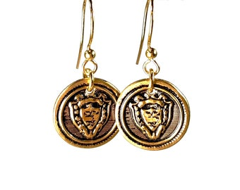 Coin Earrings, Brass Button Jewelry, Repurposed Vintage
