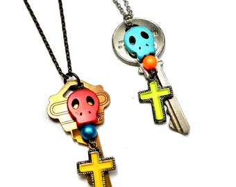 Upcycled Long Skull Charm Necklaces, Day of the Dead Jewelry with Key, Cross & Sugar Skulls