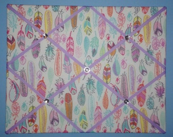 Feathers french memo board, featuring pink, purple, blue, & orange, 16 x 20