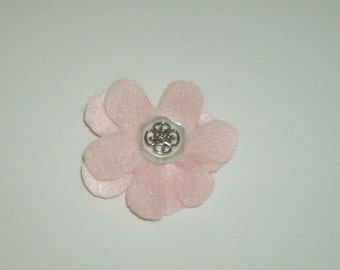 SALE: Light pink layered felt flower pin brooch with vintage white & silver button