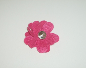 SALE: Hot pink layered felt flower pin brooch with vintage silver & rhinestone button