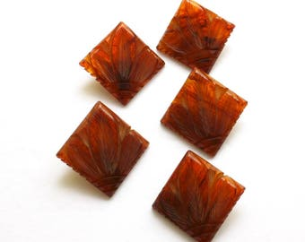 Vintage Art Deco Buttons 5 Matching Square Carved Tortoiseshell Celluloid Floral Leaf Buttons Lot of 5 Buttons