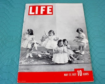 1937 Life Magazine May 17th Cover Dionne Quints turn 3 Great Articles Photos Advertisement 92 pages Back Cover Camel Cigarettes