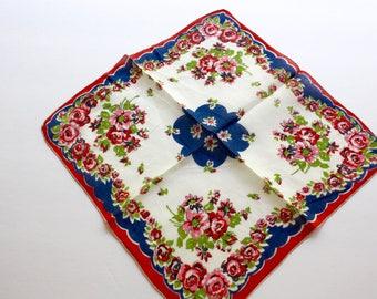 Vintage Floral Handkerchief Ladies Square White Cotton Linen Hankie w Red Pink Roses Blue Border Flower Bouquet Hanky