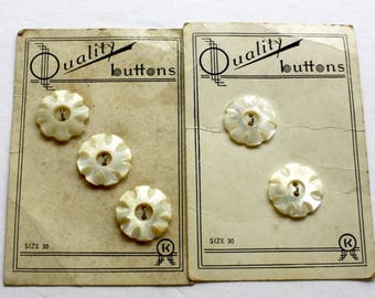 Vintage Pearl Flower Buttons 5 Matching Carved Round Pearl Buttons Original Cards Size 30