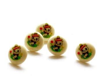Vintage Chihuahua Dog Buttons 5 Matching Round Cream Plastic Cute Little Dog w Hat Children's Buttons