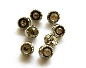 Vintage Rhinestone Buttons Lot of 8 Matching Round Silvertone Metal w Clear Sparkling Rhinestones Self Shanks