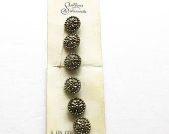 Vintage Glass Buttons 6 Matching Round Black Silver Luster Glass Buttons on Original Card Made in Germany Lot of 6 Buttons