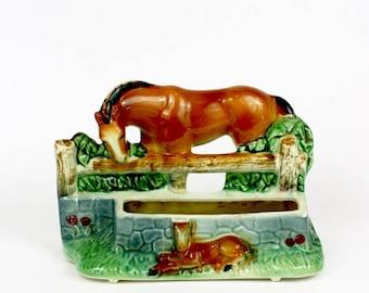 Vintage 50s Horse Planter Brown Mare w Colt Pottery Ceramic Planter