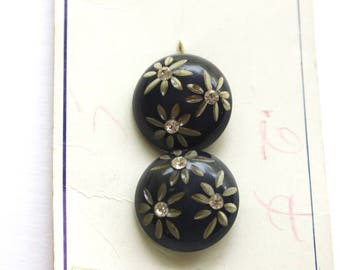 Vintage Rhinestone Flower Buttons Pair of Matching Round Plastic Buttons w Carve Flower Rhinestone Centers Original Card Buttons